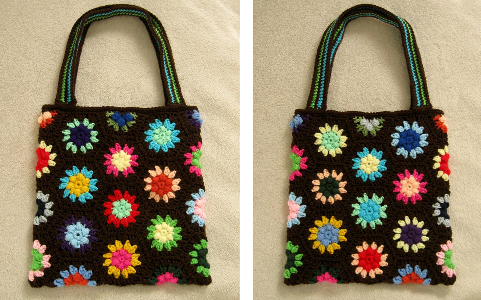 Crochet Hexagon Bag : Free Crochet Pattern(s): Puff Flower Hexagon & Half Hex Speckless ...
