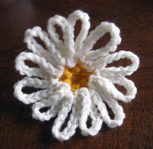 crochet daisy motif back view
