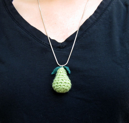 crochet pear charm