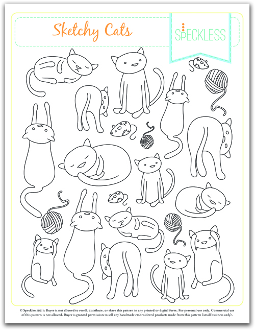sketchy cats embroidery pattern