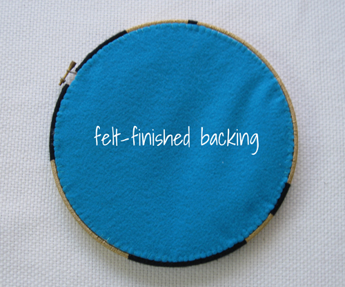 felt back finishing for embroidery