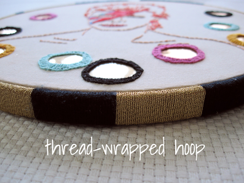 thread wrapped embroidery hoop