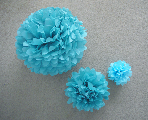 tissue paper pompoms at speckless