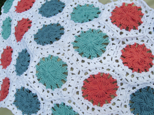 Sunburst Hexagon Crochet Motif