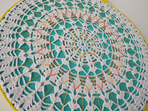 Large Embroidered Doily Mandala