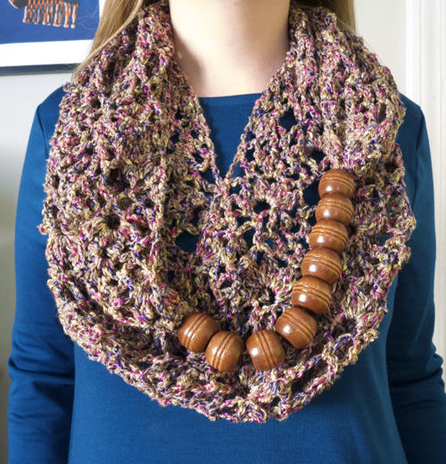 crochet scarf with beads