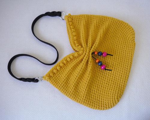 Faux Bow Hobo Crochet Bag
